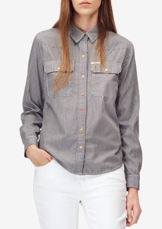 Calvin Klein Jeans Cotton Railroad Striped Snap-Front Shirt