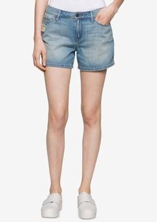 Calvin Klein Jeans Cotton Ripped Boyfriend Shorts