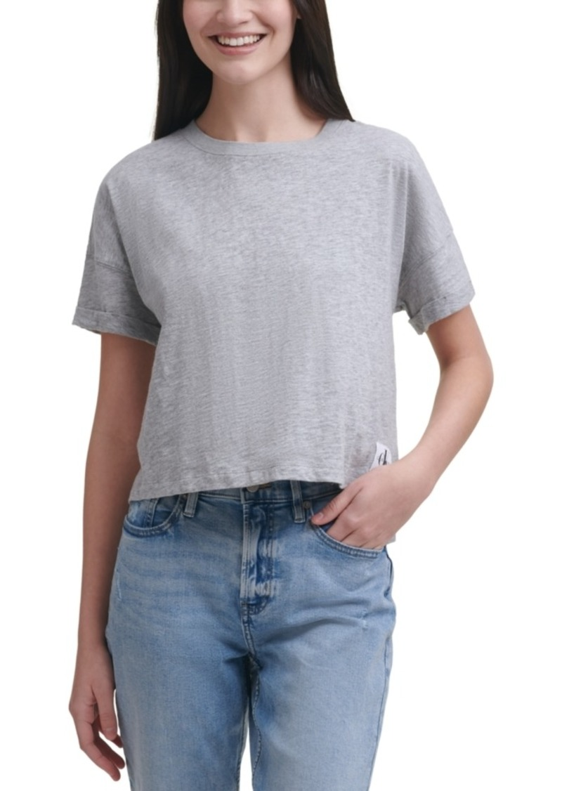 Calvin Klein Jeans Cropped Boxy-Fit Cotton T-Shirt