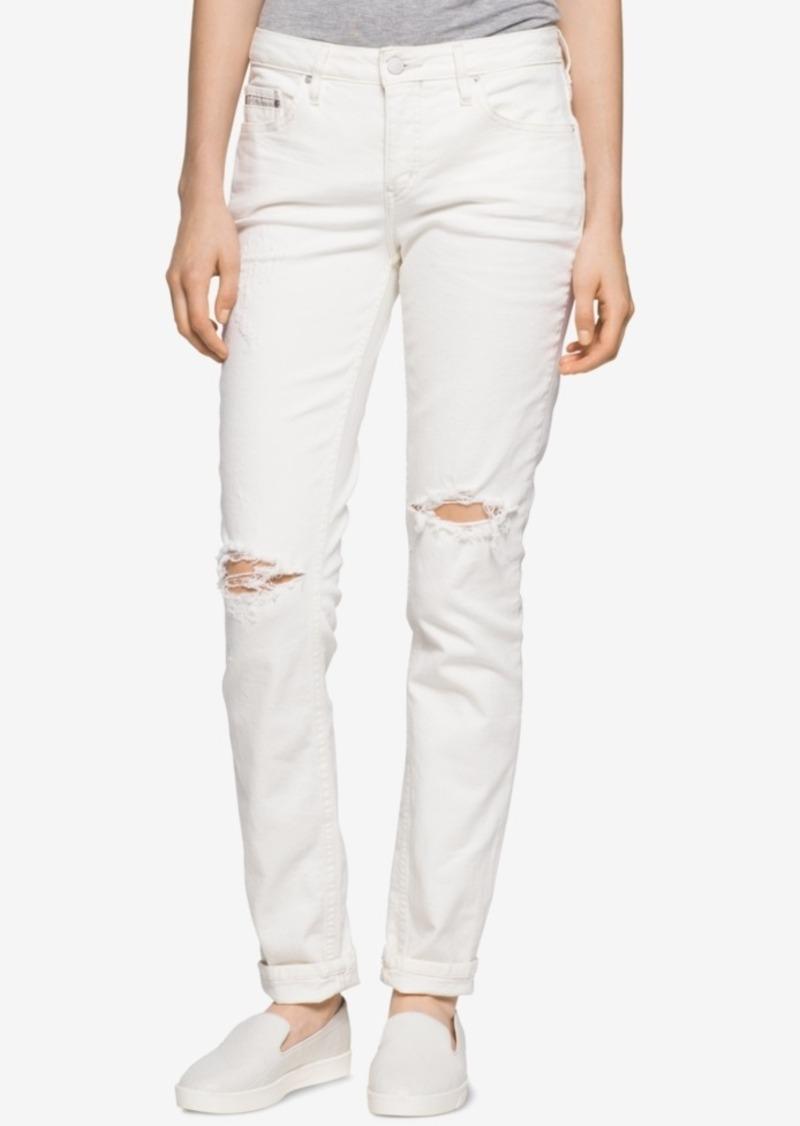 a5e844f79e8 Calvin Klein Calvin Klein Jeans Curvy Ripped White Wash Skinny Jeans ...