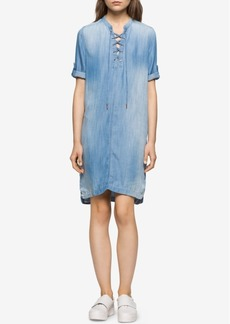 Calvin Klein Jeans Denim Lace-Up Shirtdress