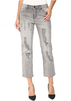 Destroyed Crop Straight Jeans in Grey Fog
