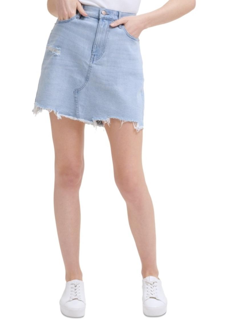 Calvin Klein Jeans Distressed Denim Mini Skirt