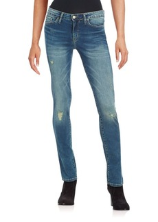 Calvin Klein Jeans Distressed Patch Faded Slim-Fit Jeans