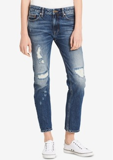 Calvin Klein Jeans Distressed Slim Cotton Boyfriend Jeans