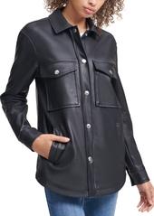 Calvin Klein Jeans Faux Leather Button Down Jacket