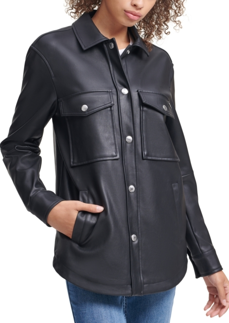 Calvin Klein Jeans Faux Leather Button Down Jacket
