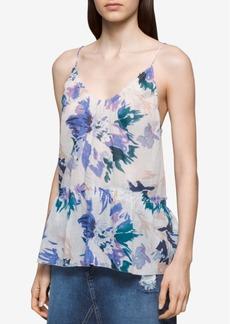 Calvin Klein Jeans Floral-Print Peplum Top