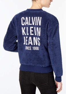 Calvin Klein Jeans Graphic Sherpa Fleece Bomber Jacket