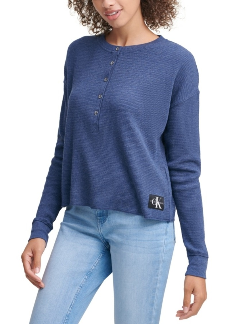 Calvin Klein Jeans Henley Waffle-Knit Top