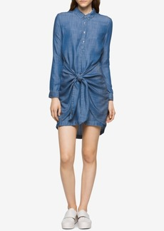 Calvin Klein Jeans High-Low Knotted Denim Shirtdress