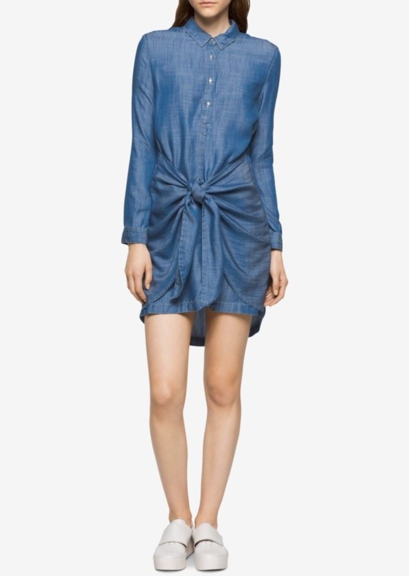 ba606ad325 SALE! Calvin Klein Calvin Klein Jeans High-Low Knotted Denim Shirtdress