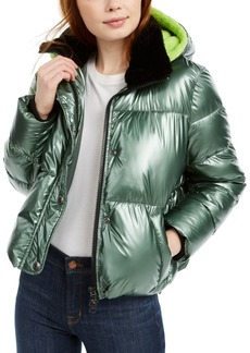Calvin Klein Jeans Hooded Faux-Fur-Collar Metallic Puffer Jacket