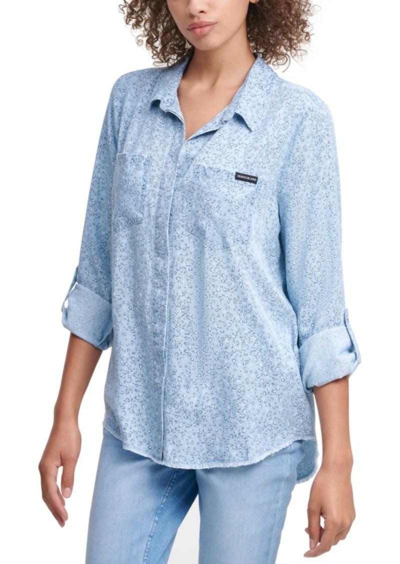 Calvin Klein Jeans Leopard Button Front Shirt
