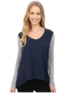 Calvin Klein Jeans Long Sleeve Woven Knit Mix Top