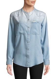Calvin Klein Jeans Mandarin Collar Button-Down Shirt