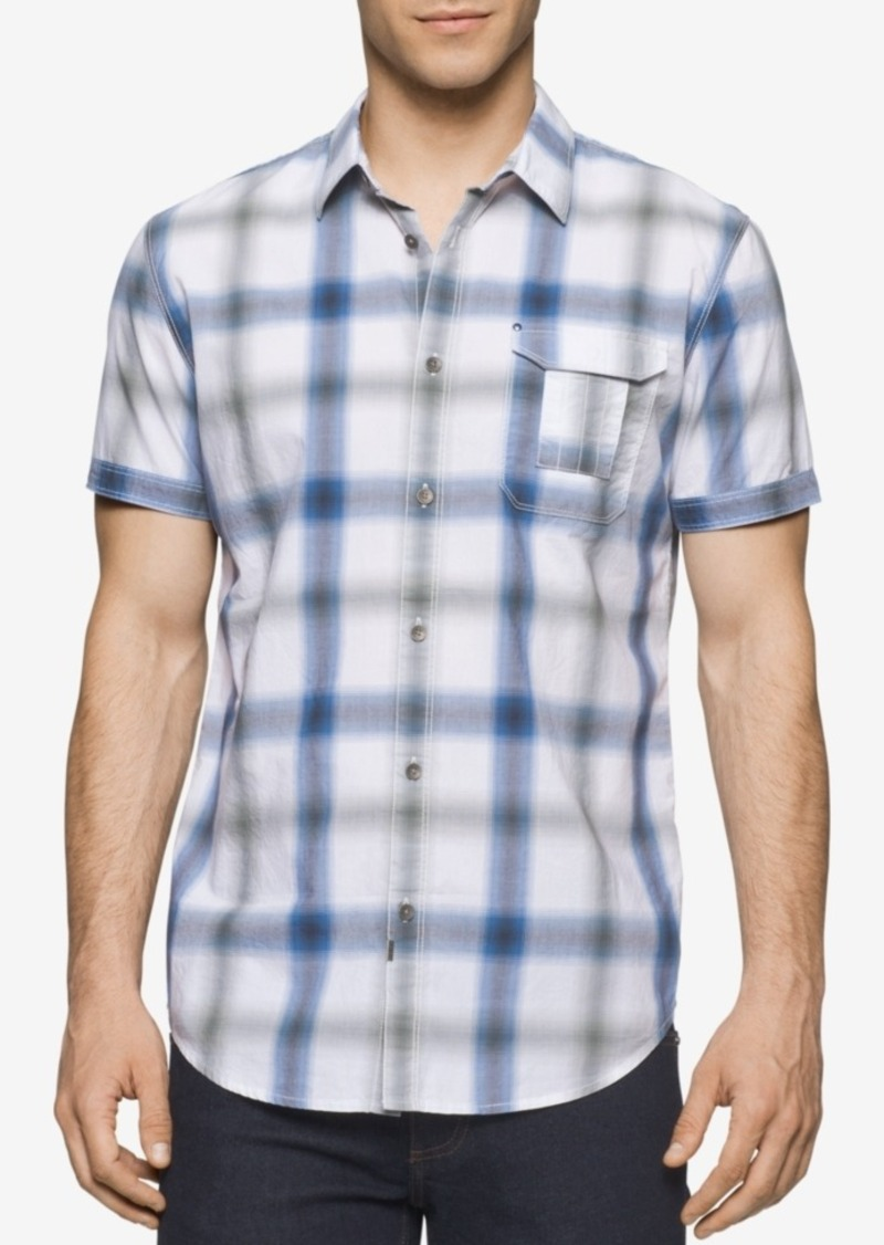 Calvin Klein Jeans Men's Blur Plaid Short-Sleeve Shirt