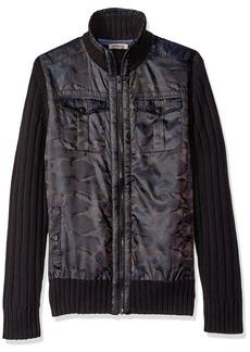 Calvin Klein Jeans Men's Cargo Mixed Guage Full Zip Sweater