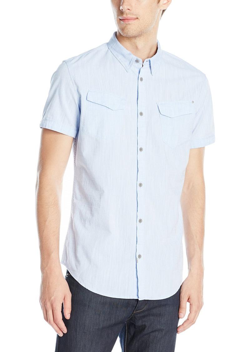 Calvin Klein Jeans Men's Chambray Short Sleeve Button Down Shirt  Large