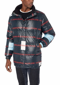 Calvin Klein Jeans Men's Coated Puffer Jacket ck Black