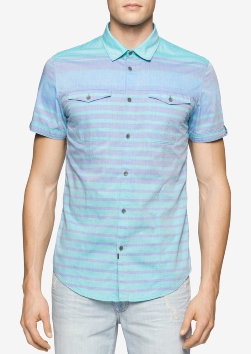 Calvin Klein Jeans Men's Colorblocked Striped Short-Sleeve Shirt