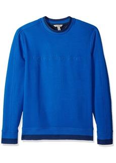 Calvin Klein Jeans Men's Crew Neck Sweatshirt with Tonal Rib Tipping  M