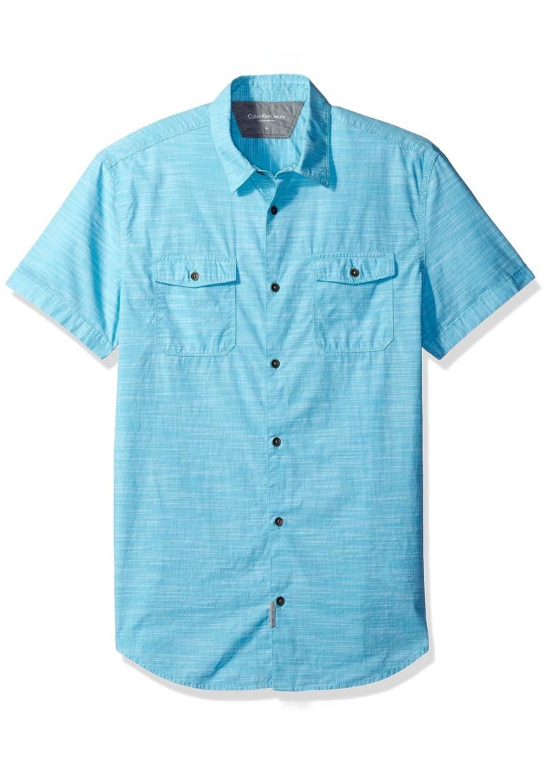 Calvin Klein Jeans Men's Cross Hatch Slub Short Sleeve Button Down Shirt  X-SMALL