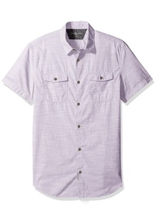Calvin Klein Jeans Men's Cross Hatch Slub Short Sleeve Button Down Shirt  X-SMALL