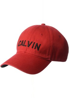 Calvin Klein Jeans Men's Embroidered Calvin Baseball Dad Hat Tango red