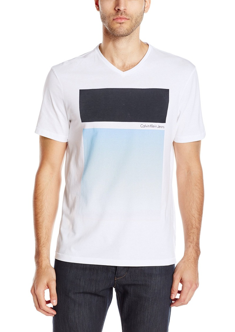 Calvin Klein Jeans Men's Gradient Geo V-Neck T-Shirt White