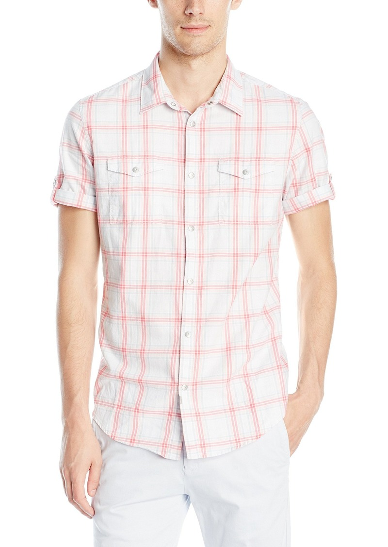 Calvin Klein Jeans Men's Grid Plaid Short Sleeve Button Down Shirt