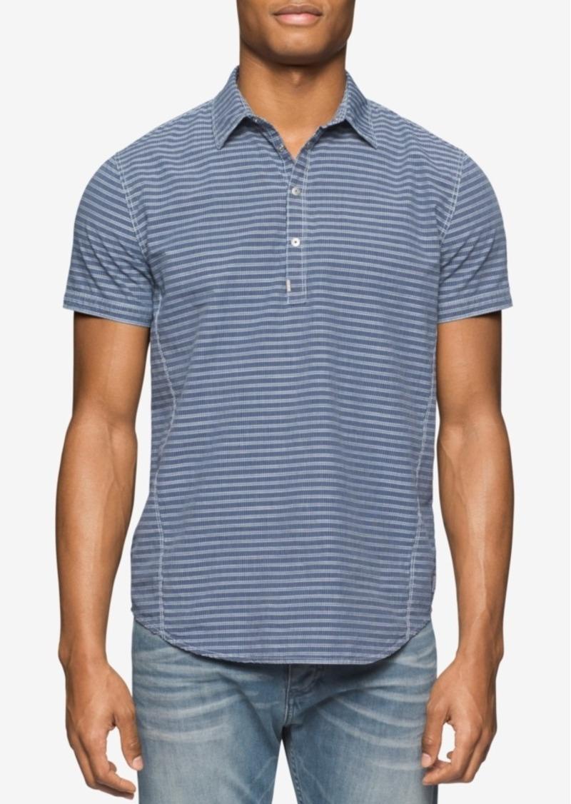 Calvin Klein Jeans Men's Half-Snap Closure Striped Short-Sleeve Popover