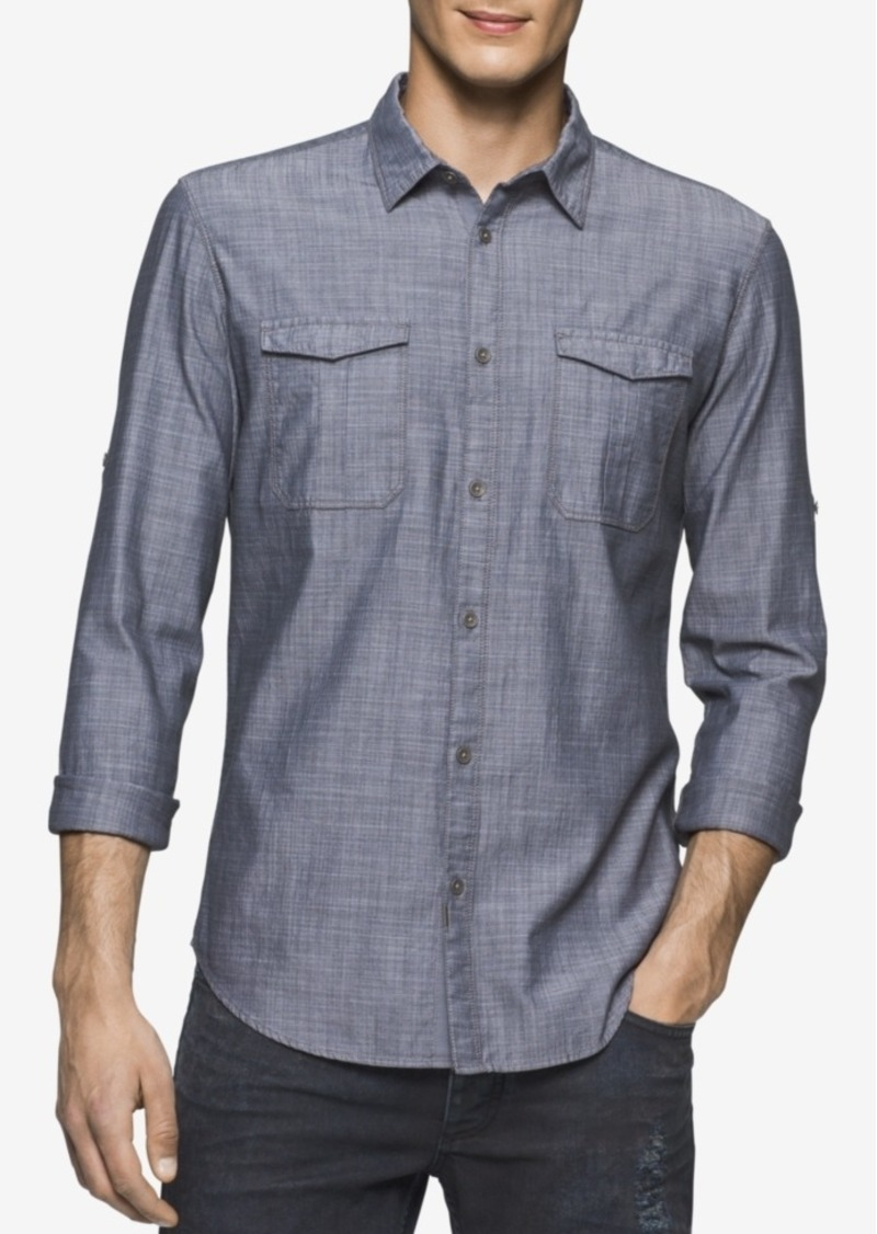 Calvin Klein Jeans Men's Herringbone Long-Sleeve Military Shirt