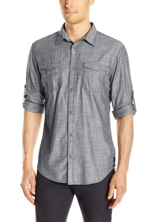 Calvin Klein Jeans Men's Herringbone Military Long Sleeve Button Down Shirt