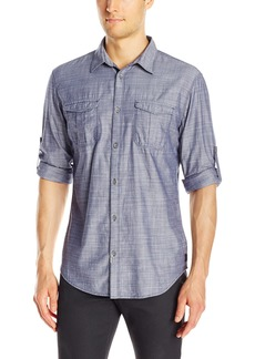 Calvin Klein Jeans Men's Herringbone Military Long Sleeve Button Down Shirt  X-LARGE
