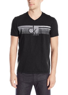 Calvin Klein Jeans Men's Lined Ck Jeans V Neck Tee Shirt  2X-Large