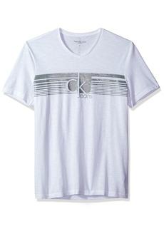 Calvin Klein Jeans Men's Lined Ck Jeans V Neck Tee Shirt