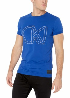 Calvin Klein Jeans Men's Logo Oultine Font Short Sleeve T-Shirt EU surf The Web