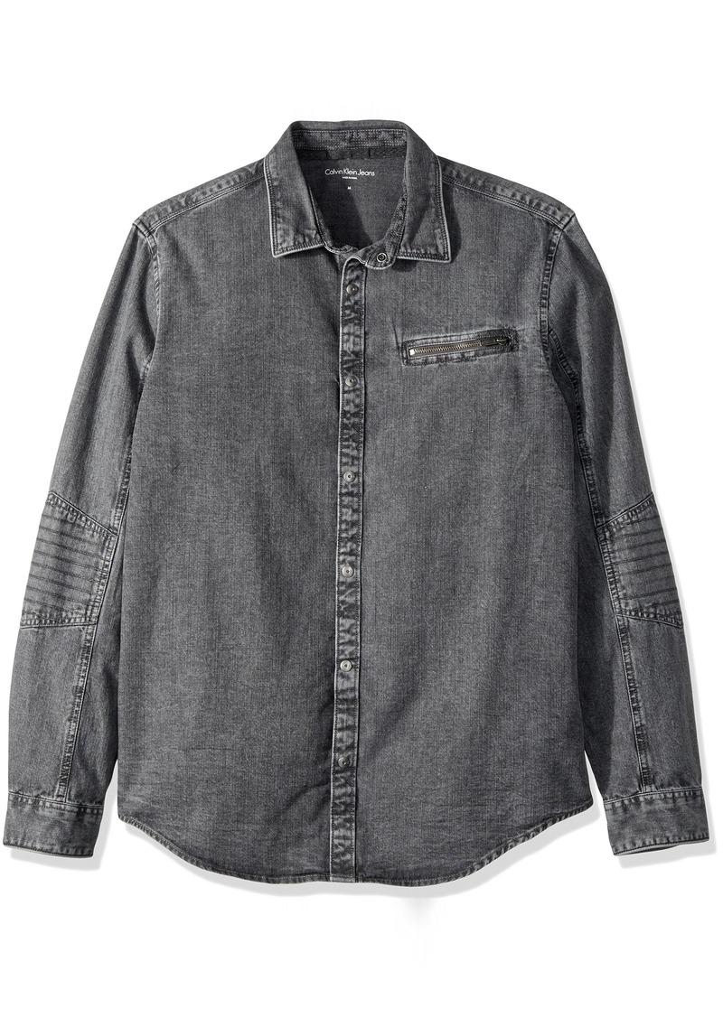 Calvin Klein Jeans Men's Long Sleeve Biker Denim Button Down Shirt Grey 2X-Large