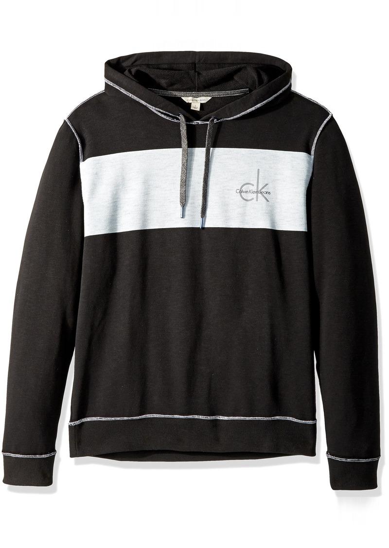 6ebc764cba1c Calvin Klein Jeans Men s Long Sleeve Ck Logo Chest Stripe Pullover Hoodie