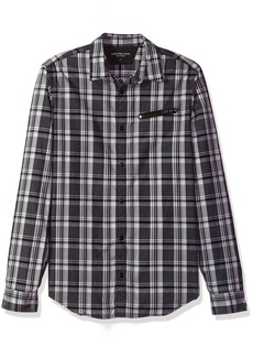 Calvin Klein Jeans Men's Long Sleeve Jaspe Plaid Button Down Shirt