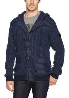 Calvin Klein Jeans Men's Long Sleeve Plaited Texture and Mixed Media Hoodie Sweater