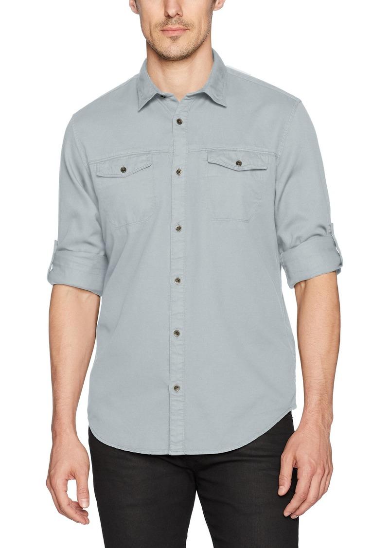 Calvin Klein Jeans Men's Long Sleeve Roll Up Dobby Mixed Media Button Down Shirt Blue zinc