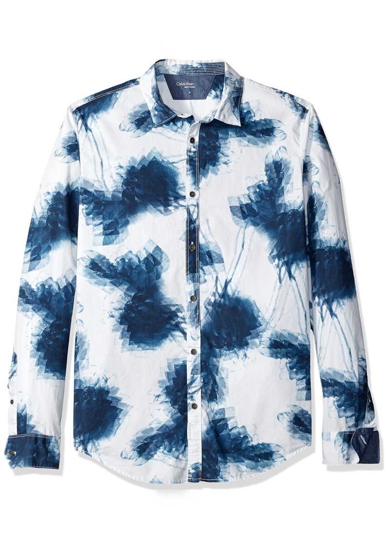 Calvin Klein Jeans Men's Long Sleeve Shaken Leaves Print Button Down Shirt