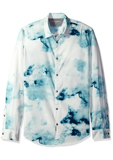 Calvin Klein Jeans Men's Long Sleeve Smoke Print Button Down Shirt