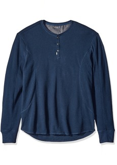 Calvin Klein Jeans Men's Mixed Media Slub Waffle Henley Long Sleeve Shirt