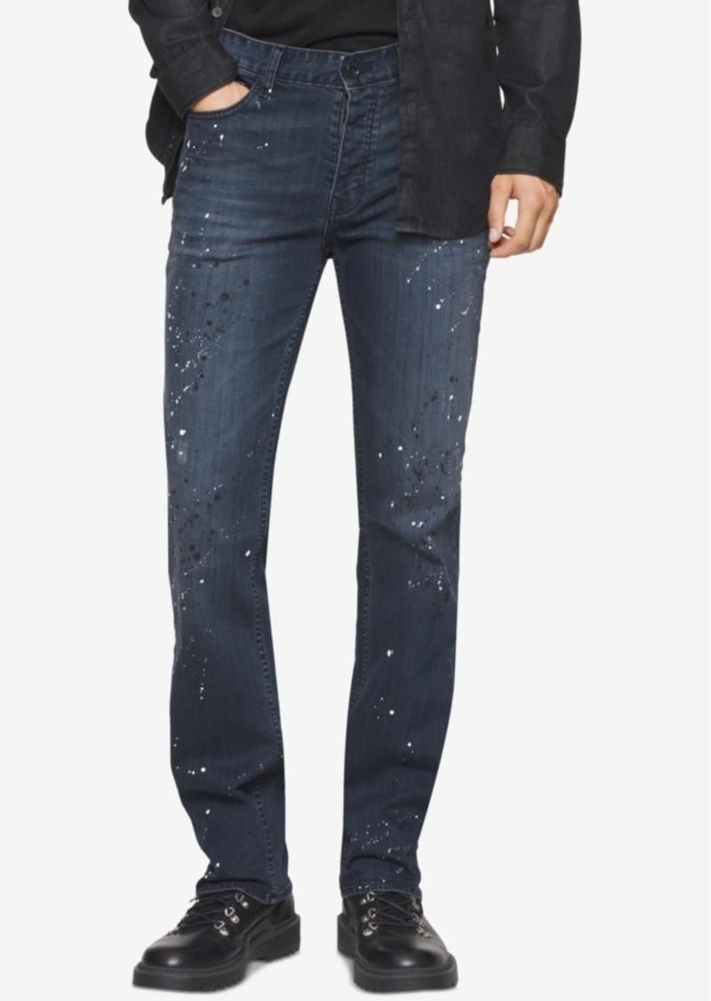 2df7b03692b Calvin Klein Jeans Men s Night Sky Slim-Straight Fit Paint-Splatter Jeans