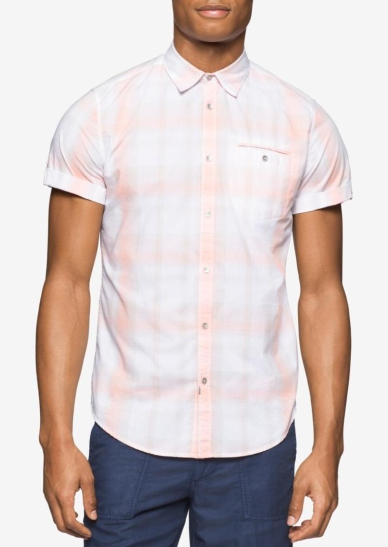 Calvin Klein Jeans Men's Ocean Air Plaid Short-Sleeve Shirt