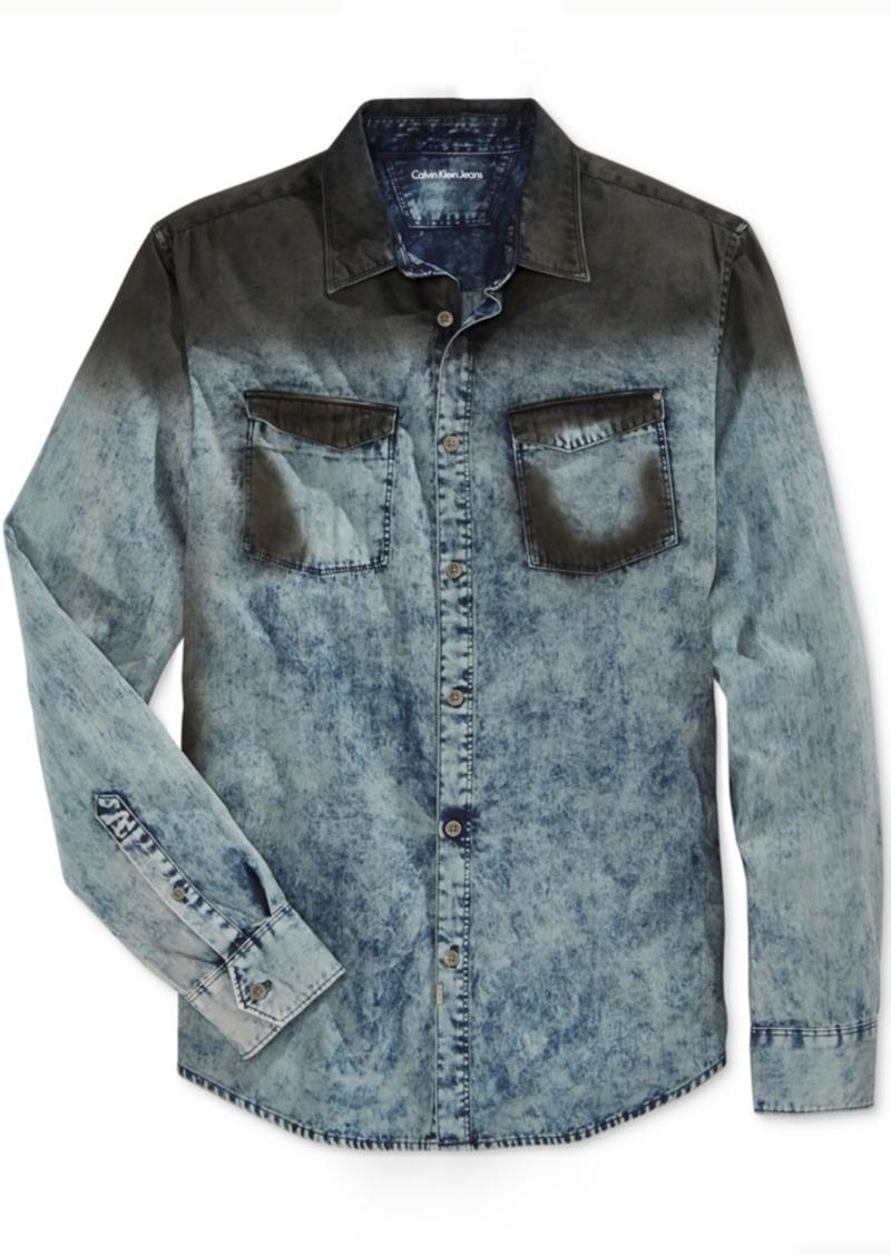 Calvin Klein Jeans Men's Oil Slick Denim Long-Sleeve Shirt