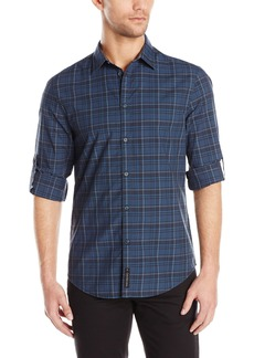Calvin Klein Jeans Men's River Plaid Rolled Sleeve